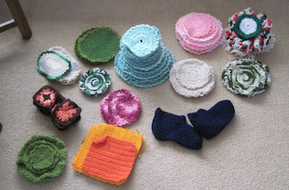 crocheted items stacked