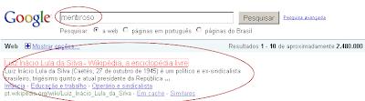 resultado google mentiroso Lula