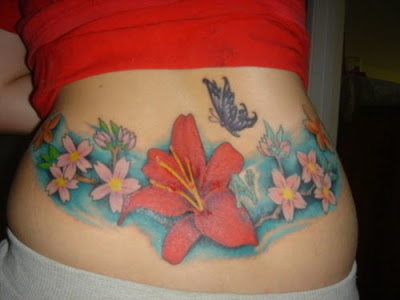 Lower Back Tattoo Flower Lower Back Tattoo with Butterfly and Flower Tattoo