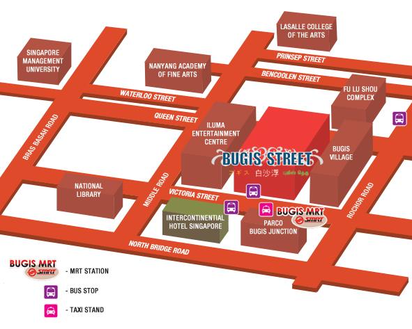 Mapa Bugis Street de Singapur