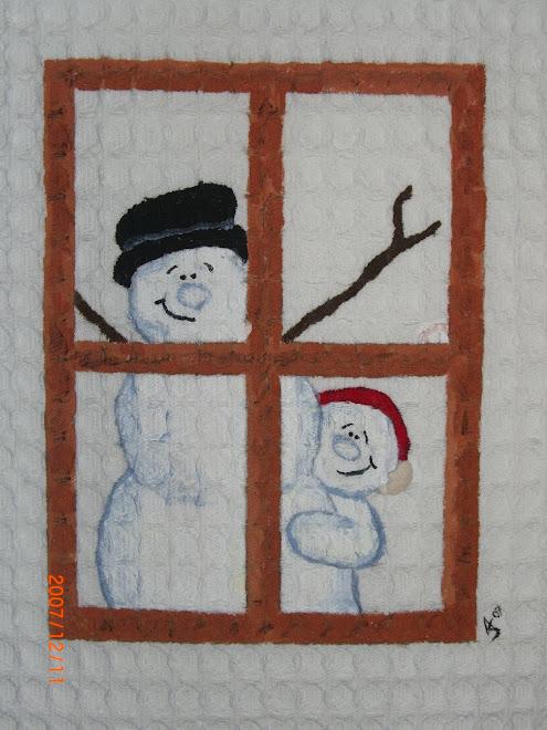 Janela Com Bonecos de Neve