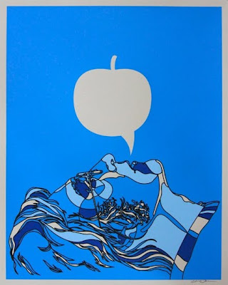 John Lennon Screen Print Blue Apple by David Flores