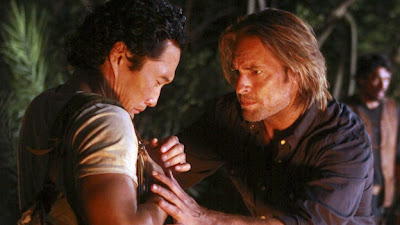 Lost - The Package - Daniel Dae Kim as Jin Kwon & Josh Holloway as James Sawyer Ford
