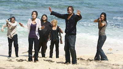 Lost - The Last Recruit - Jeff Fahey as Frank Lapidus, Yunjin Kim as Sun Kwon, Jorge Garcia as Hugo 'Hurley' Reyes, Emile de Ravin as Claire Littleton, Josh Holloway as James 'Sawyer' Ford & Evangeline Lilly as Kate Austen