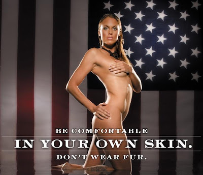 U.S. Olympian Amanda Beard's PETA Ad - Be Comfortable In Your Own Skin. Don't Wear Fur.