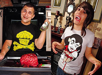 Johnny Cupcakes - Halloween Crossbones Brains and Dracula T-Shirt