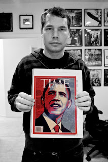 Shepard Fairey and His Barack Obama Cover Artwork to Time Magazine's 2008 Person of the Year Issue