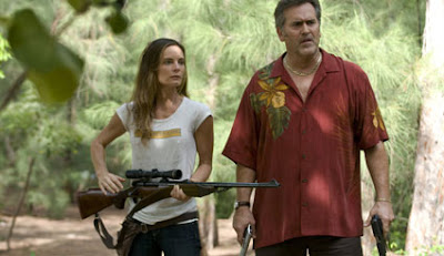 Burn Notice: Lesser Evil - Gabrielle Anwar as Fiona Glenanne and Bruce Campbell as Sam Axe