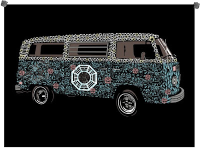 Damon, Carlton and A Polar Bear Limited Edition Lost Screen Prints - The Dharma Van by Methane Studios