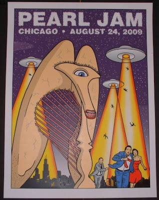 Pearl Jam - August 24, 2009 - United Center - Chicago, IL Concert Poster by Tom Tomorrow