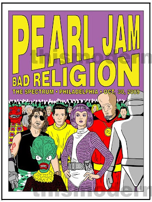 Pearl Jam - October 30, 2009 - The Spectrum - Philadelphia, PA Concert Poster by Tom Tomorrow