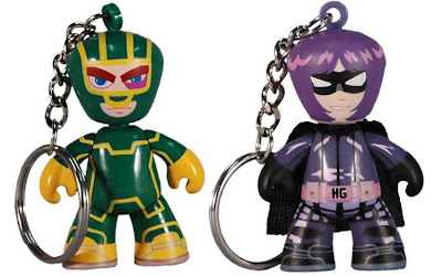 2010 Summer Exclusive Kick-Ass Mez-Itz Super Bundle by Mezco Toyz featuring Kick-Ass and Hit-Girl Mini-Mez-Itz Key RingZ