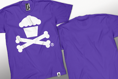 Johnny Cupcakes White on Purple Cupcake and Crossbones T-Shirt