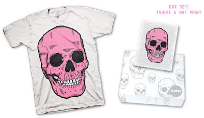 LTD Tee - Pink Cranium T-Shirt & Art Print Box Set by Iban Brizuela