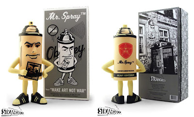 the blot says strangeco x obey giant mr spray vinyl figure by shepard fairey. Black Bedroom Furniture Sets. Home Design Ideas