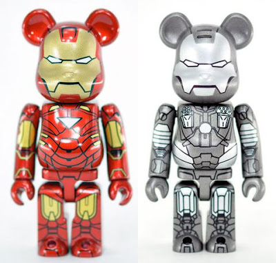 Bearbrick Series 20 by Medicom - Iron Man 2 Iron Man Mark VI & War Machine 100% Be@rbricks