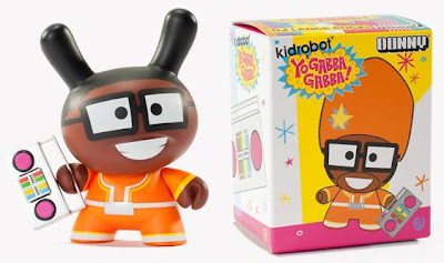 Kidrobot x Yo Gabba Gabba DJ Lance Rock 3 Inch Dunny and Packaging