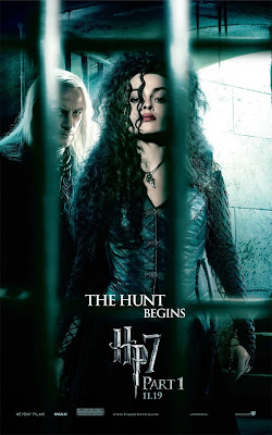 Harry Potter and the Deathly Hallows: Part I Teaser One Sheet Movie Poster - The Hunt Begins - Jason Isaacs as Lucius Malfoy & Helena Bonham Carter as Bellatrix Lestrange