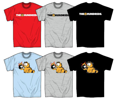 The Hundreds x Garfield Clothing & Accessory Collection - Garfield Bar Logo & Garfield N Adam T-Shirts