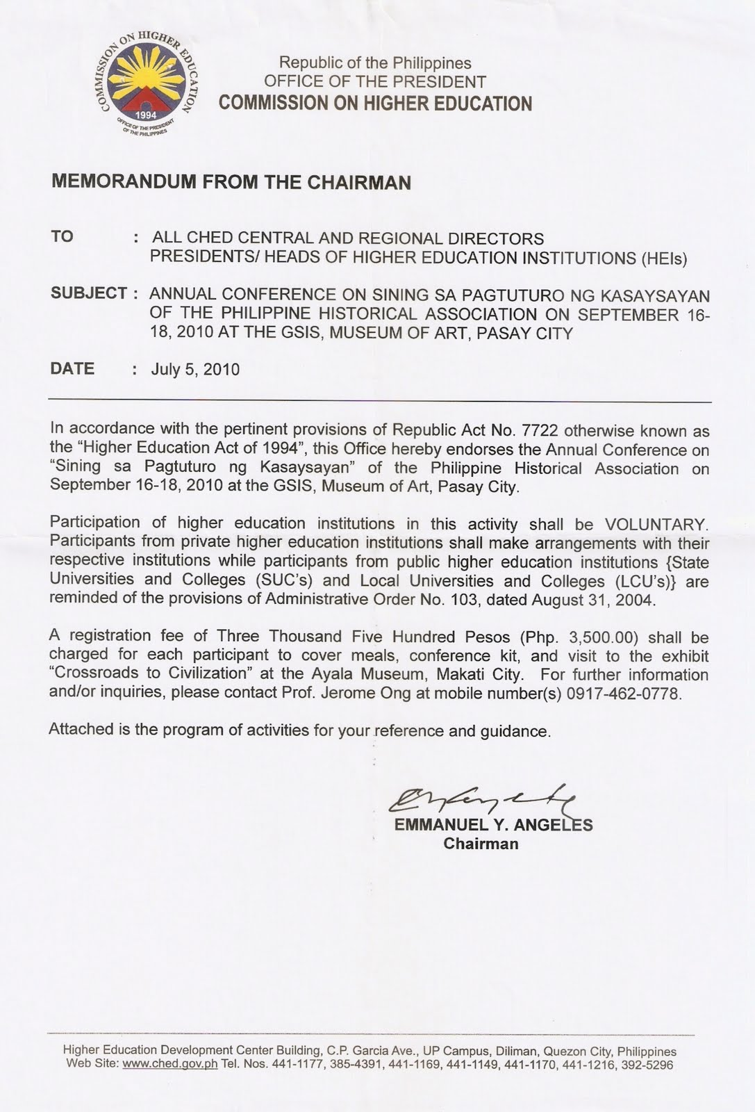 ched memo 30 series 2004 Ched memorandum order no 05 series of 2002   this set of policies and guidelines is hereby approved and shall take effect effective first semester 2003-2004, pang city, philippines _____ 2003 so ordered,  ched takes cognizance of the need to make quality education accessible to a greater number of qualified filipinos.