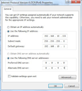 Windows 7 : IPV4 Configuration