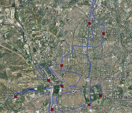 Maratón de Madrid a vista de GPS