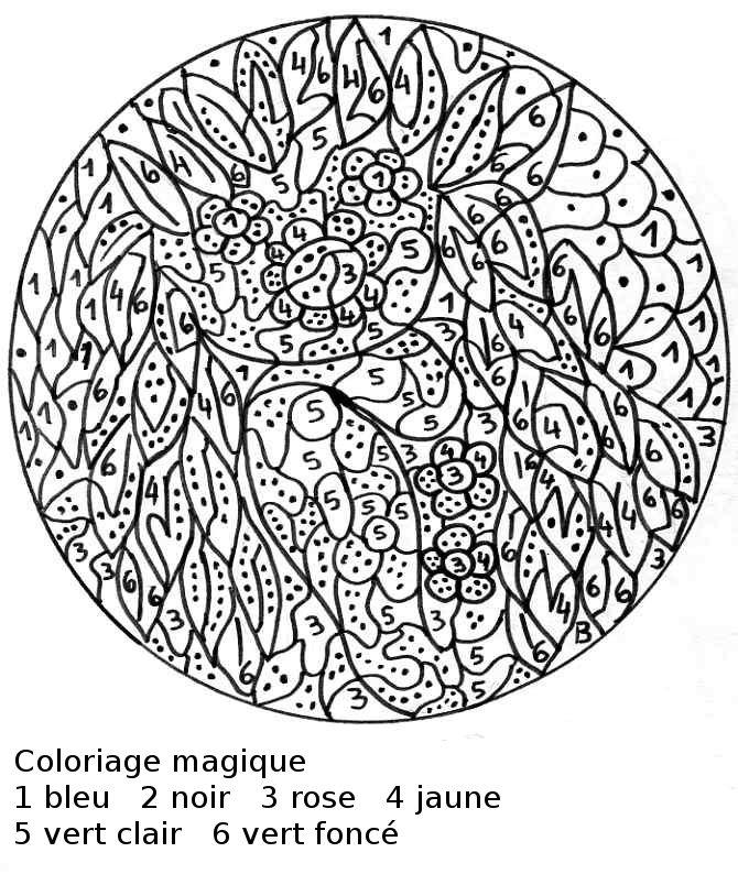 Maternelle coloriage magique une fille en feuilles - Coloriage numerote adulte ...