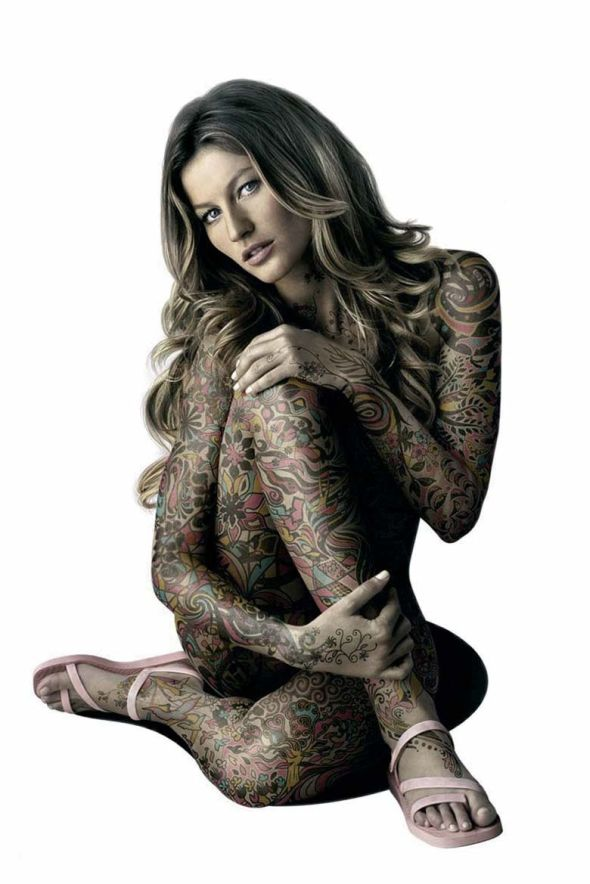 Full body tattoo sexy girl