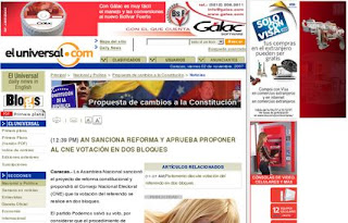 dos bloques reforma constitucional referendo 2 diciembre venezuela El universal.com noticias