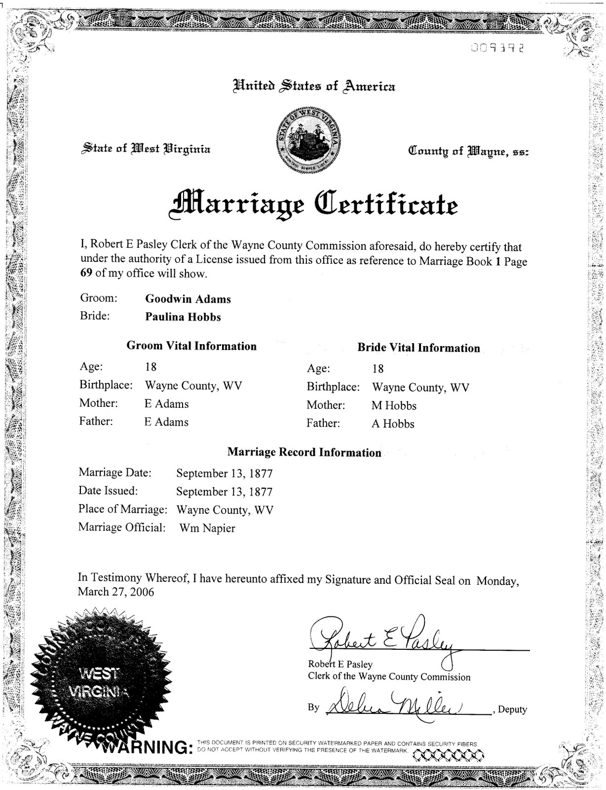 Posies genealogy marriage certificate of goodwin adams and paulina hobbs 1betcityfo Images