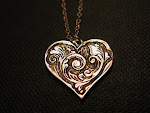 Sterling Silver Art Nouveau Heart necklace one of a kind