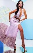 Sexy low cut halter top prom dress
