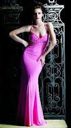 Sexy hot pink body hugging prom dress