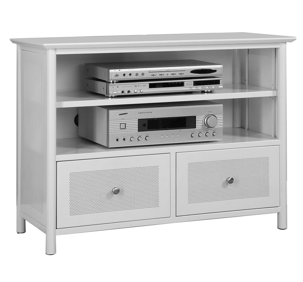 Made out of metal, this white entertainment center has a stunning