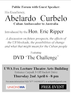 Cuban Ambassador speaking in Perth Thurs 2 April Enable images to see picture