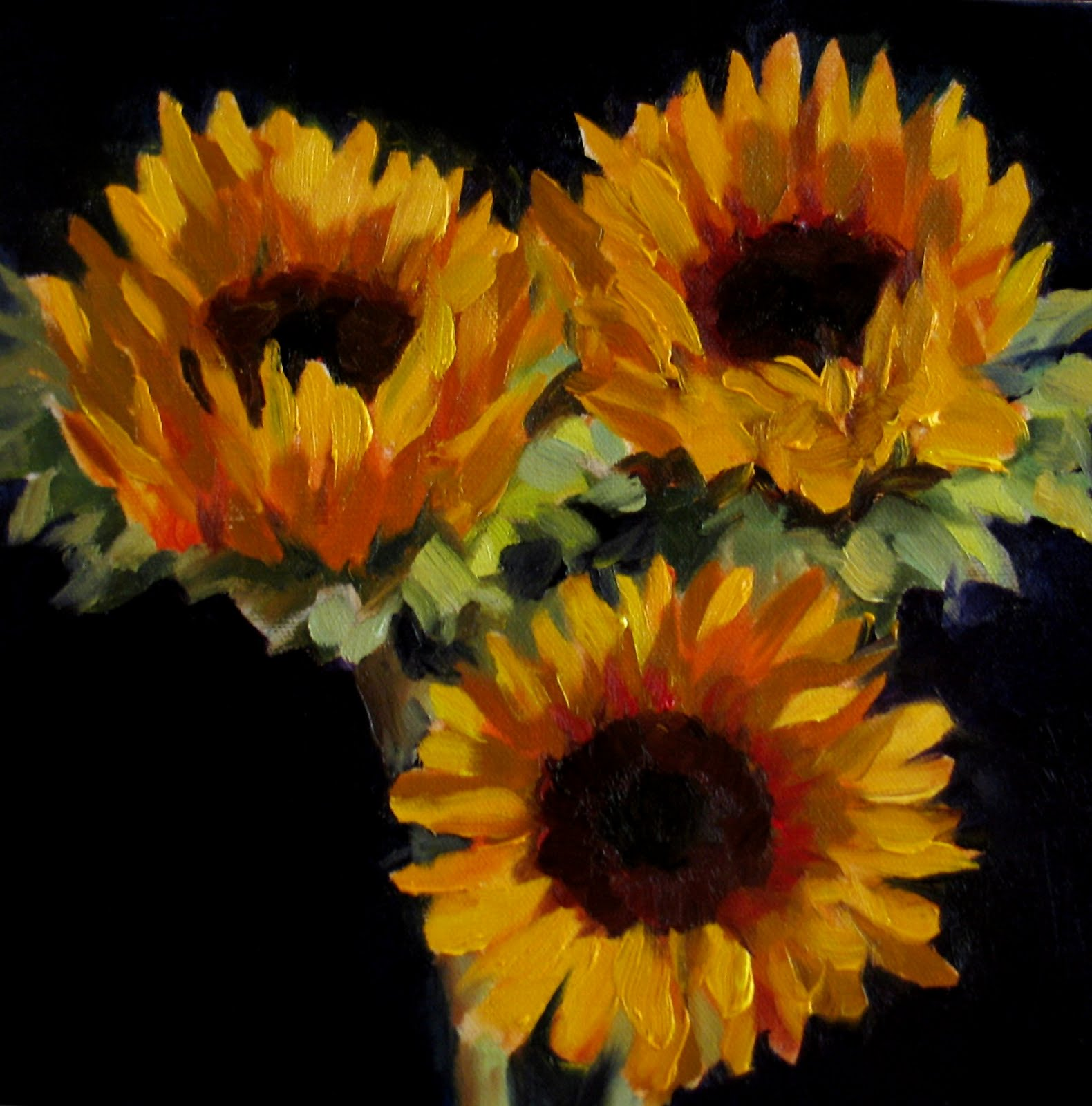One Stroke Painting Sunflowers http://nelseverydaypainting.blogspot.com/2010/09/sunflowers-on-dark.html