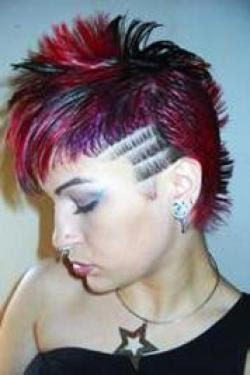 Punk Girl Red Mohawk Hairstyle