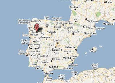Chaves e Verin situados na Península Ibérica
