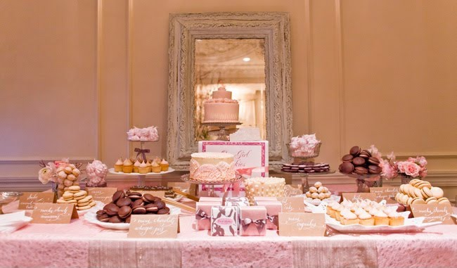 This stunning pink candy table by Dawn from One Girl Cookies could be suited