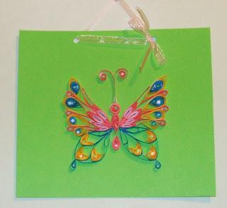 hand made, картичка пеперуда, квилинг