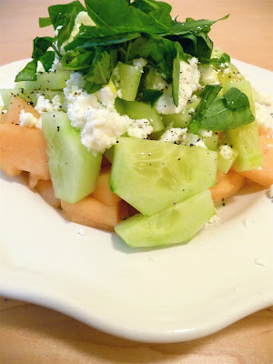 Summer melon with feta, basil, and cucumber