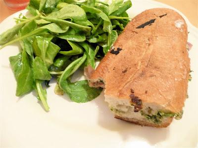 Prosciutto, ricotta, and pesto panini
