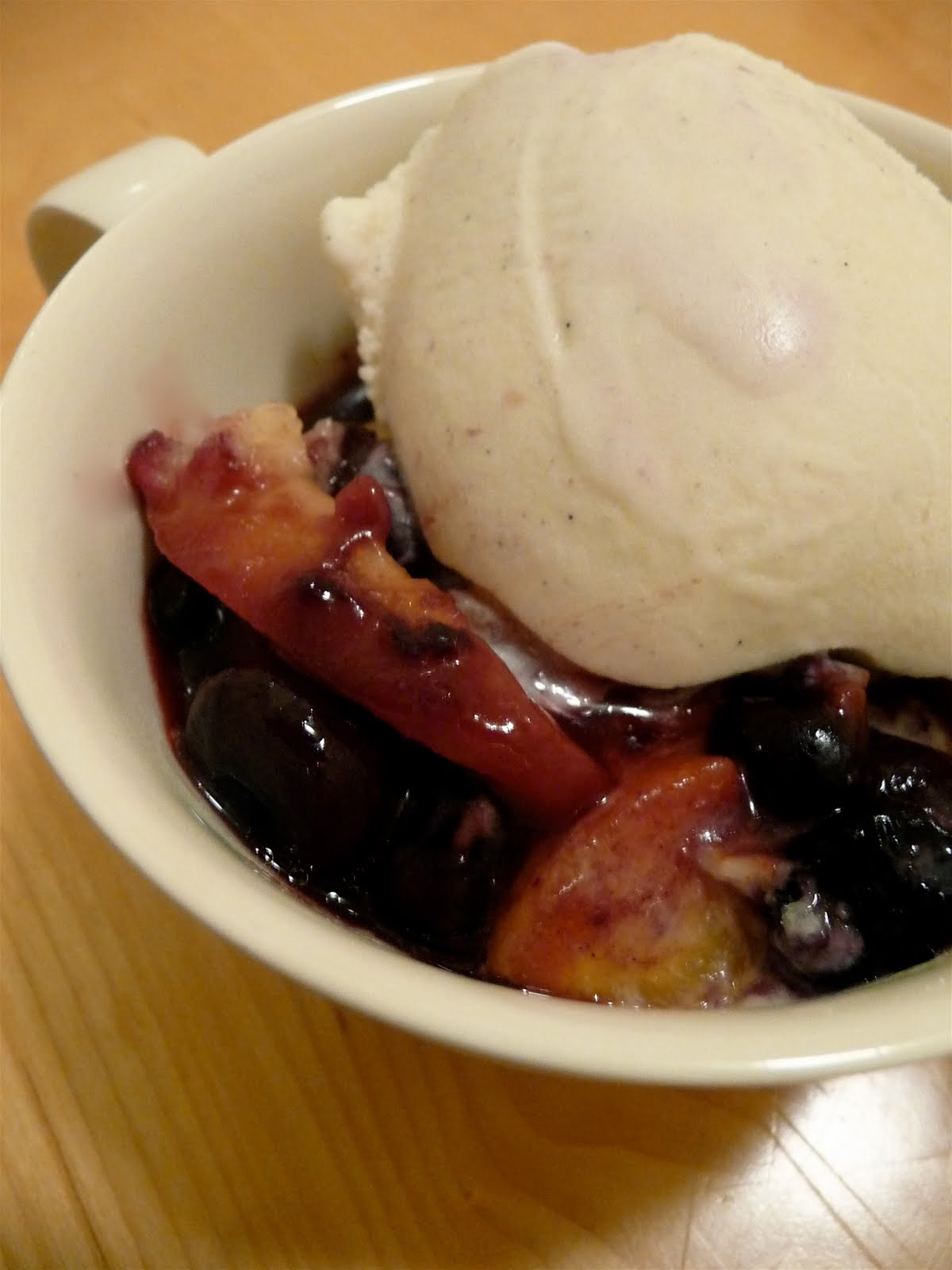 dinner party: peach-blueberry cobbler