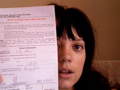 Lily Allen sick note