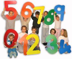 niños con los números