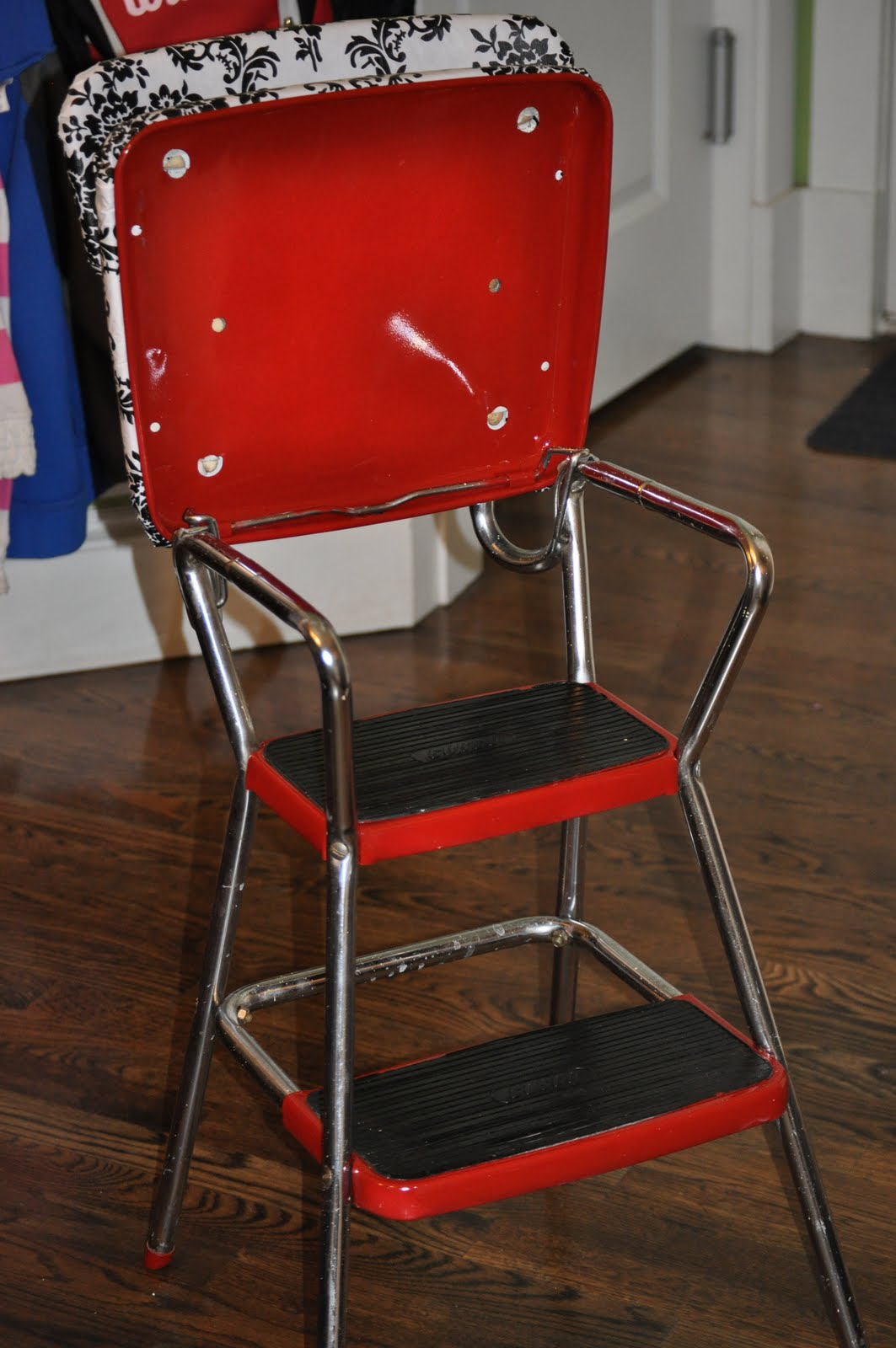 cassandra design classic red kitchen chair step stool. Black Bedroom Furniture Sets. Home Design Ideas