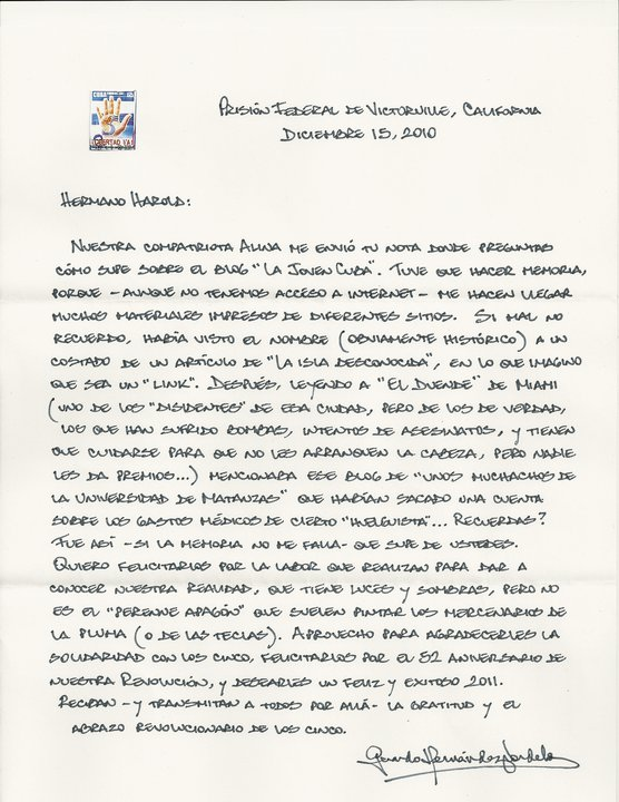 La Isla Desconocida: Mensaje de Gerardo al blog La Joven Cuba.