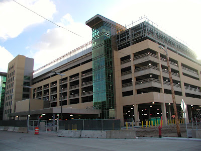 Parking ramps like this one can be found near the Xcel Energy Center