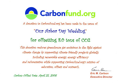 Have a ZERO Emission Wedding! Visit CarbonFund.org Today!