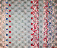 Upcycled Shipping Foam Retro Red White and Blue I